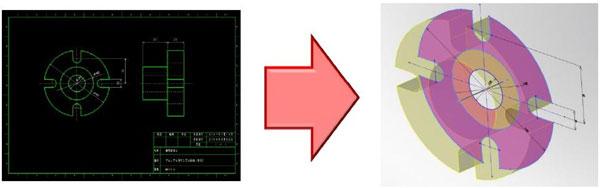 既存の2次元図面を3次元空間に簡単取り込み